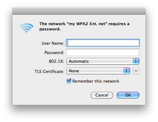 Screenshot of the WPA2 Enterprise wireless login screen displayed on a Mac