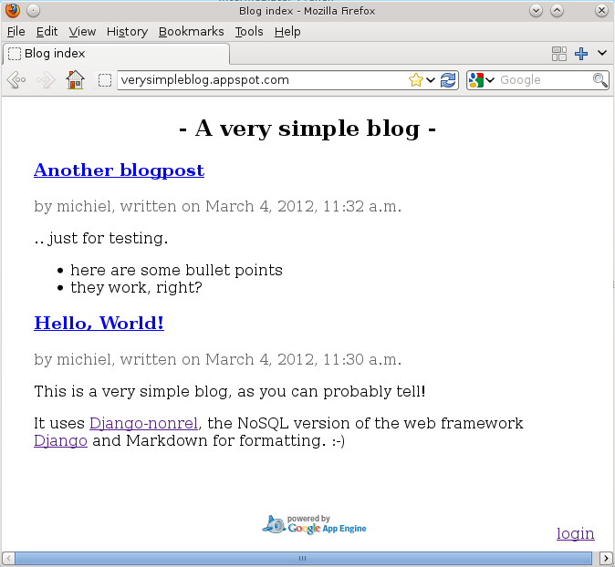 Simple blogging system (Google App Engine experiment)