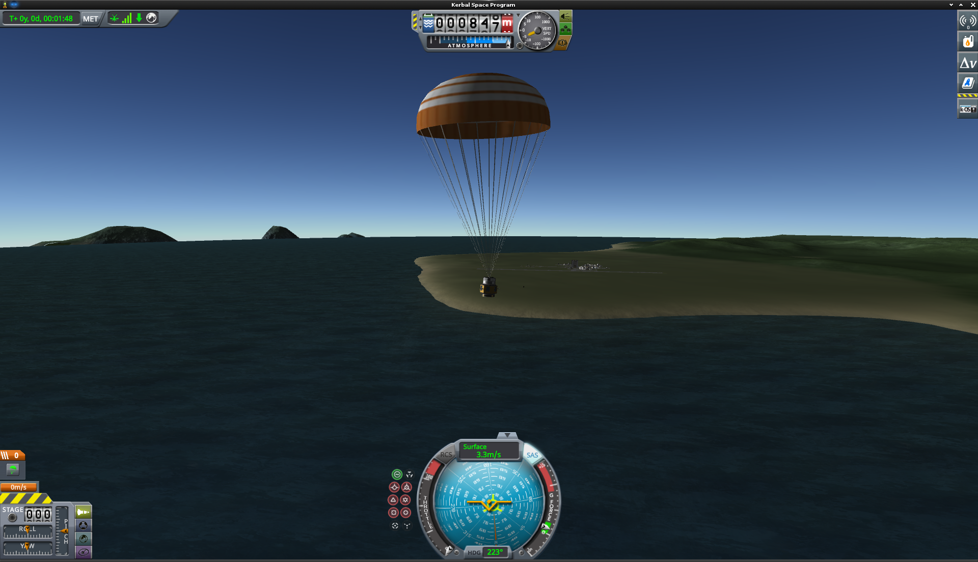 The spacecraft payload is slowly descending into the sea near the Kerbal Space Center, thanks to a fully opened parachute.